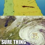 sandy spongebob hurricane water