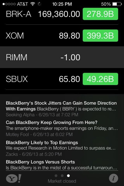 blackberry bankrupt apple stock ios 7
