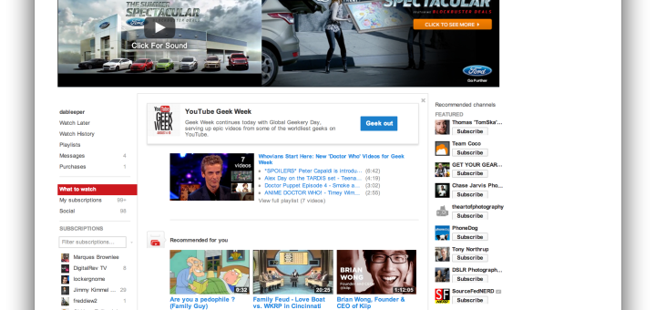 youtube homescreen august 2013