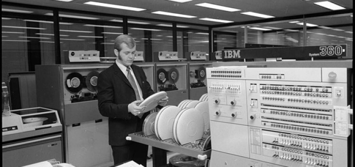 ibm computers black and white room