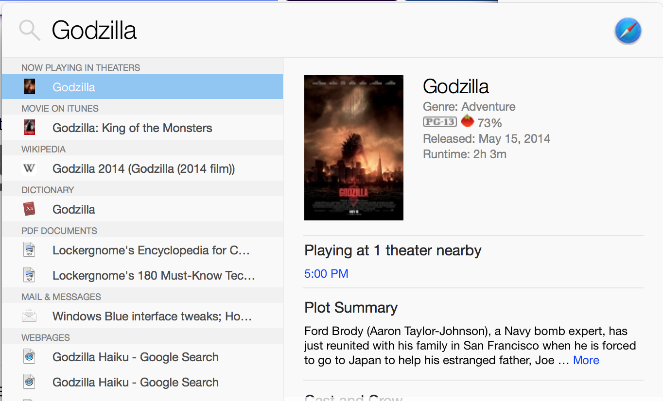 The various results for godzilla in apple spotlight