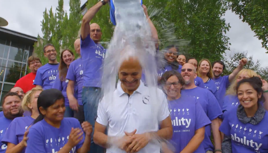 Microsoft CEO Satya Nadella takes on the Ice Bucket Challenge for ALS