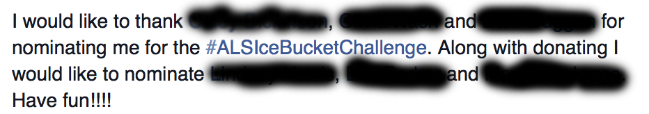a sample ice bucket challenge message